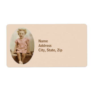 Vintage little girl in pink dress shipping label