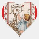 Vintage Little Girl Mailing Valentine Sticker