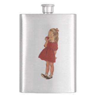 Vintage Little Girl Red Dress Apple Flasks