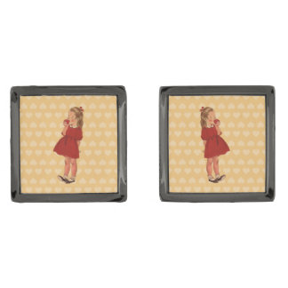 Vintage Little Girl Red Dress Apple Gunmetal Finish Cuff Links