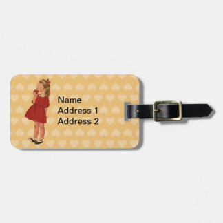 Vintage Little Girl Red Dress Apple Luggage Tag