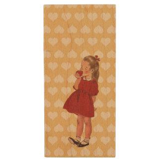 Vintage Little Girl Red Dress Apple Wood USB 2.0 Flash Drive