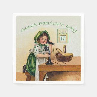 Vintage Little Girl St. Patrick's Day Disposable Napkins