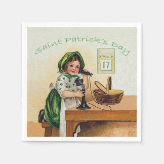 Vintage Little Girl St. Patrick's Day Disposable Serviette