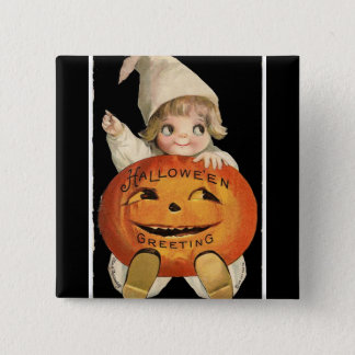 Vintage Little Girl with Big Halloween Pumpkin 15 Cm Square Badge