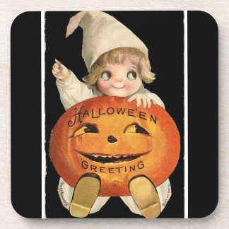 Vintage Little Girl with Big Halloween Pumpkin Coaster
