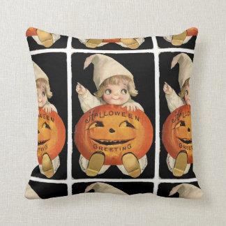 Vintage Little Girl with Big Halloween Pumpkin Cushion