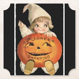 Vintage Little Girl with Big Halloween Pumpkin Paper Coaster