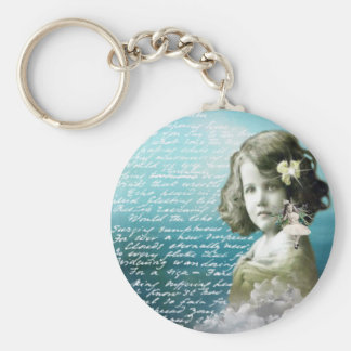 Vintage little girl with guardian angel basic round button key ring