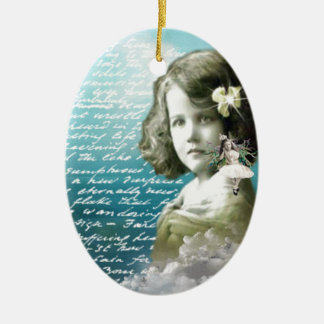 Vintage little girl with guardian angel ceramic oval decoration