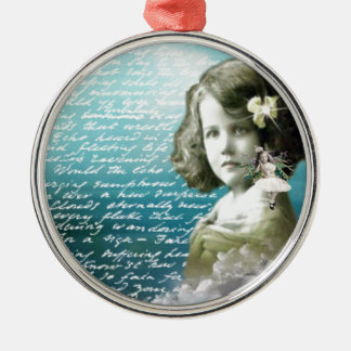 Vintage little girl with guardian angel christmas ornament