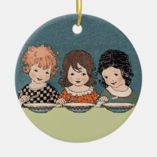Vintage Little Girls Eating Soup Three Sisters Christmas Ornament