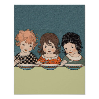 Vintage Little Girls Eating Soup Three Sisters Poster