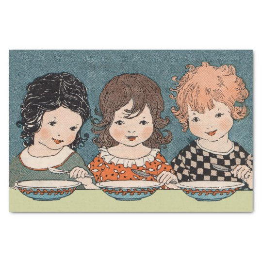 Vintage Little Girls Eating Soup Three Sisters Tissue Paper