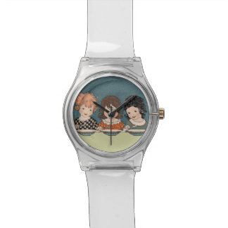 Vintage Little Girls Eating Soup Three Sisters Watch