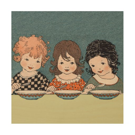 Vintage Little Girls Eating Soup Three Sisters Wood Canvas