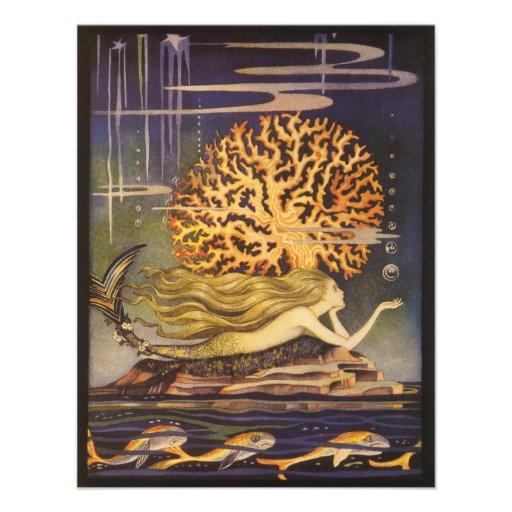 Vintage Little Mermaid Ocean Coral Fairy Tale Custom Invite