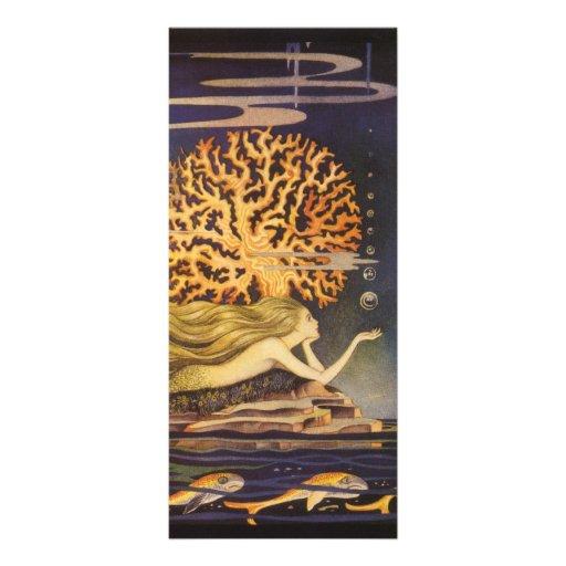Vintage Little Mermaid Ocean Coral Fairy Tale Rack Card