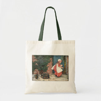 Vintage Little Miss Muffet Spider Nursery Rhyme Budget Tote Bag