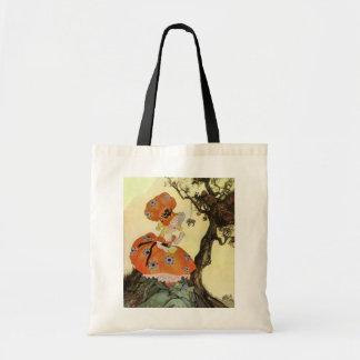 Vintage Little Miss Muffet w Spider Nursery Rhyme Tote Bag