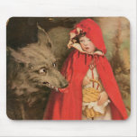 Vintage Little Red Riding Hood and Big Bad Wolf Mouse Pad