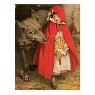Vintage Little Red Riding Hood and Big Bad Wolf Postcard