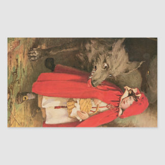 Vintage Little Red Riding Hood and Big Bad Wolf Rectangular Sticker