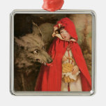 Vintage Little Red Riding Hood and Big Bad Wolf Silver-Colored Square Decoration