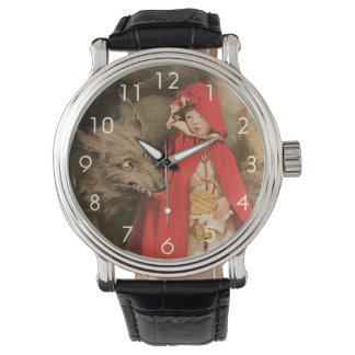 Vintage Little Red Riding Hood and Big Bad Wolf Wristwatches
