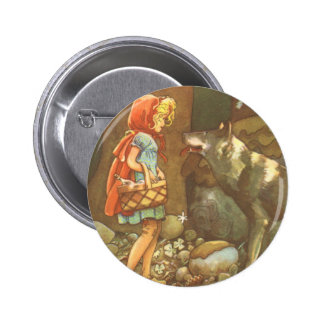 Vintage Little Red Riding Hood and Wolf in Forest Pinback Buttons