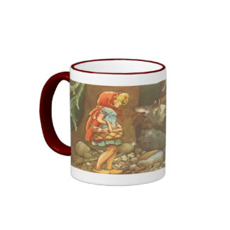 Vintage Little Red Riding Hood and Wolf in Forest Mug
