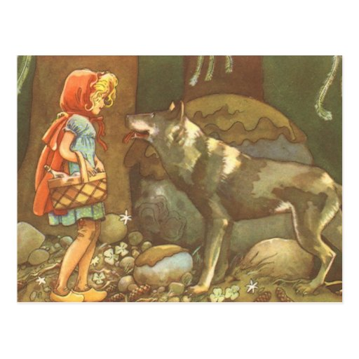Vintage Little Red Riding Hood and Wolf in Forest Postcards