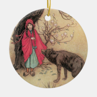 Vintage Little Red Riding Hood by Warwick Goble Christmas Ornament