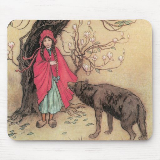 Vintage Little Red Riding Hood by Warwick Goble Mouse Pad