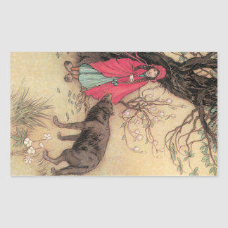 Vintage Little Red Riding Hood by Warwick Goble Rectangular Sticker