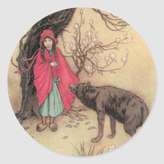 Vintage Little Red Riding Hood by Warwick Goble Round Sticker