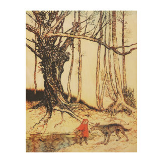 Vintage Little Red Riding Hood Graphic on Wood Wood Wall Art