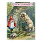 Vintage Little Red Riding Hood Illustration Postcard