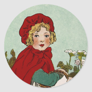 Vintage Little Red Riding Hood Illustration Stickers