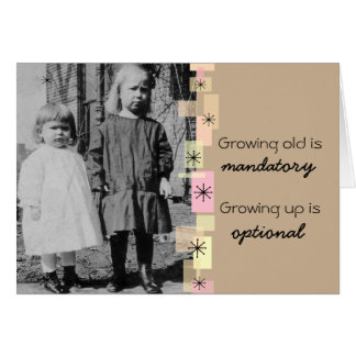 Vintage Little Sisters Growing Old Birthday Card