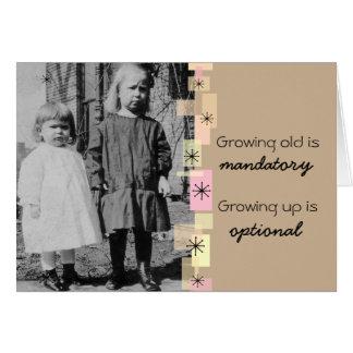 Vintage Little Sisters Growing Old Birthday Card