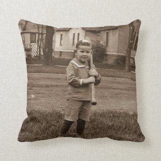 Vintage Little Slugger Boy Baseball Player Cushions