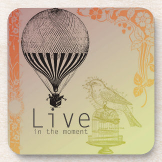 Vintage Live in the Moment Drink Coaster