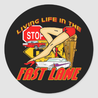 Vintage Living Life In The Fast Lane Sticker
