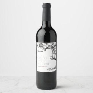 Vintage lizard skeleton wine label