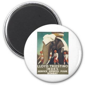 Vintage Lloyd Triestino India 6 Cm Round Magnet