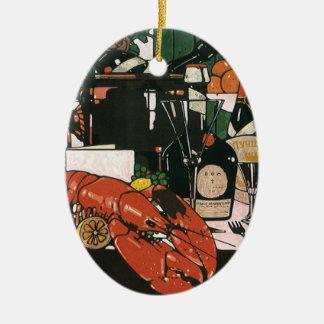 Vintage Lobster Champagne; Fancy Elegant Party Ceramic Oval Decoration