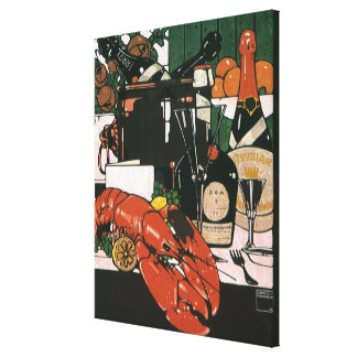 Vintage Lobster Champagne; Fancy Elegant Party Gallery Wrap Canvas
