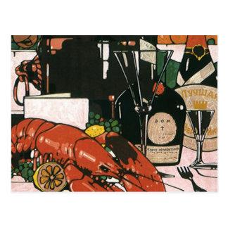 Vintage Lobster Champagne; Fancy Elegant Party Postcard