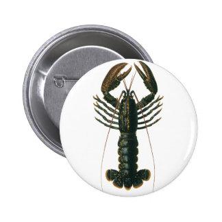 Vintage Lobster, Marine Ocean Life Crustacean 6 Cm Round Badge